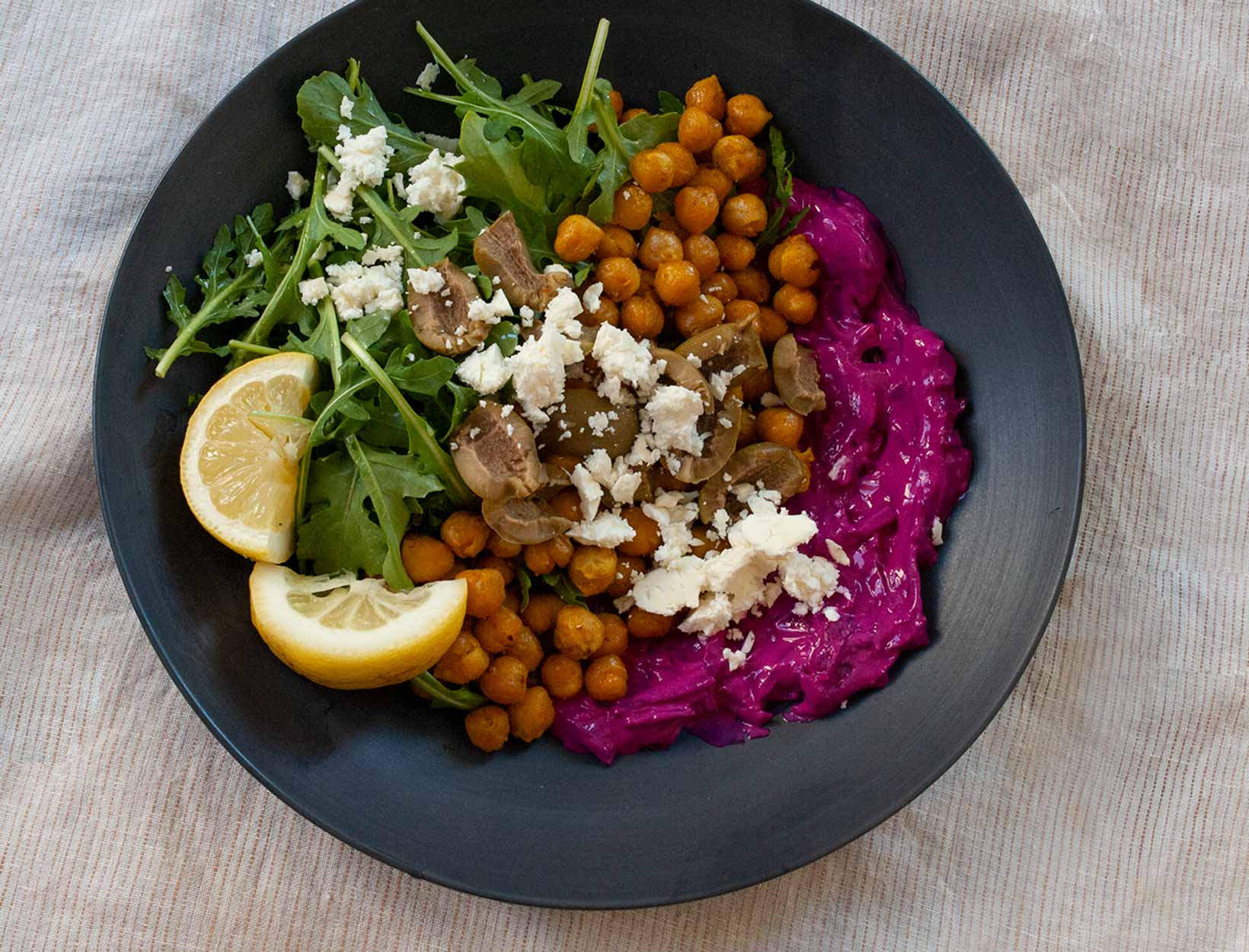 Spiced Chickpea Bowls with Pickled Beet Tzatziki