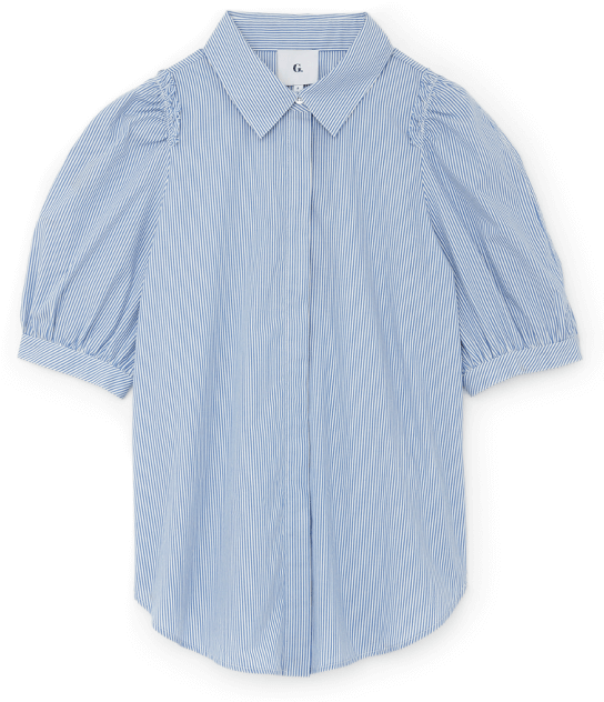 G. Label NICOLE PUFF-SLEEVE BUTTON-DOWN WITH COLLAR