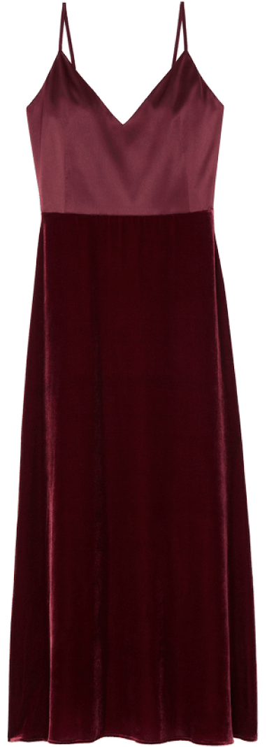 G. Label CHELSEA SATIN-AND-VELVET SLIP DRESS