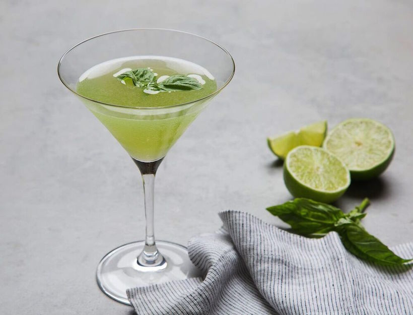 Gin Gimlet with Basil Simple Syrup