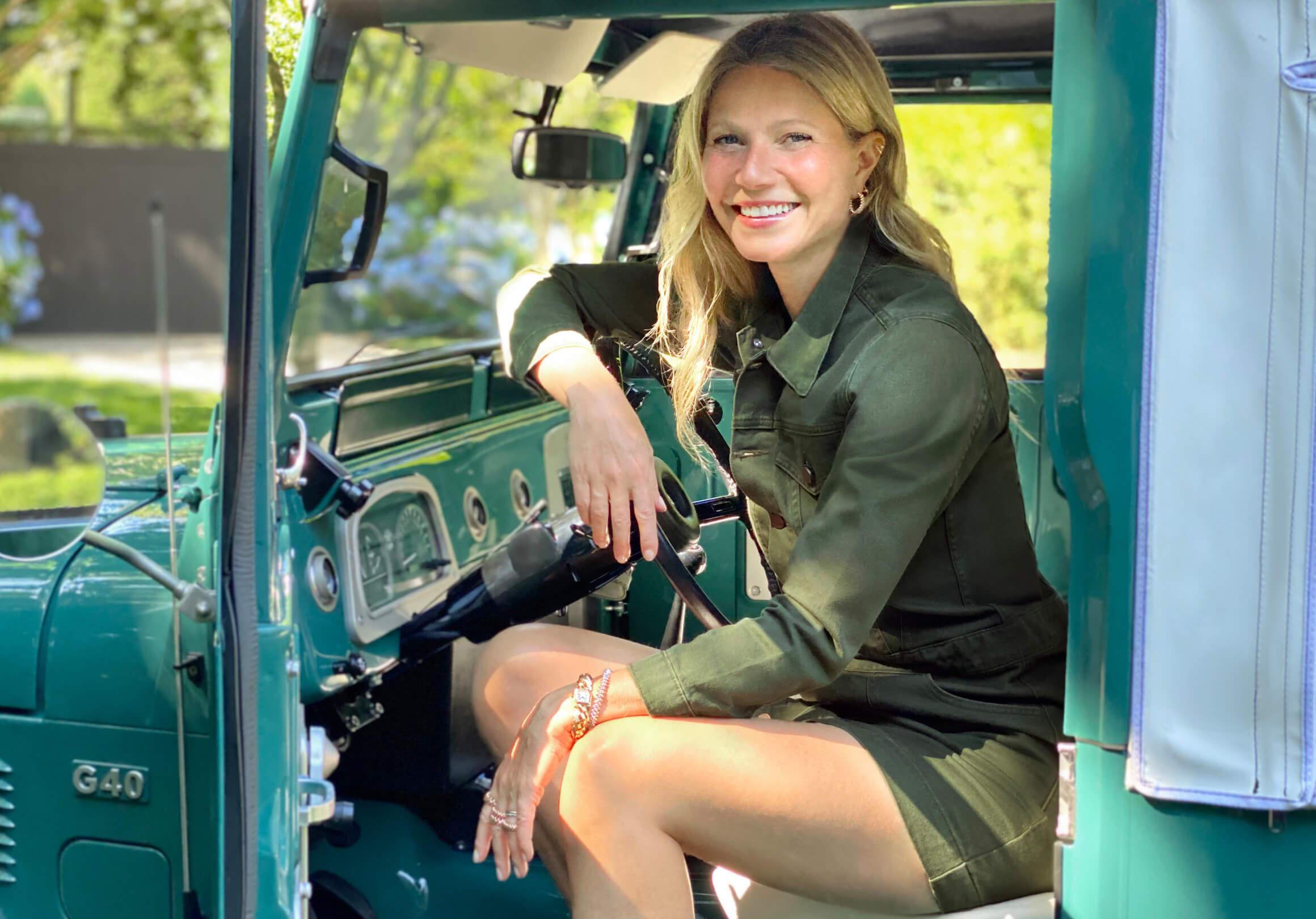 GP posing in a car