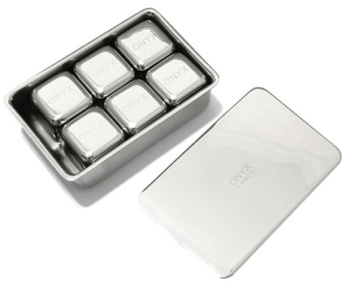 Onyx STAINLESS STEEL DRINK CUBES, SET OF 6