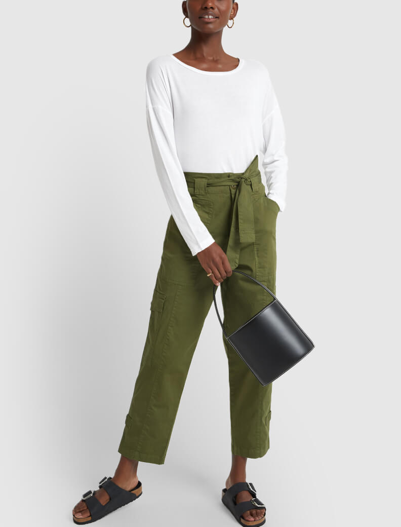 alex mill pants with staud bag