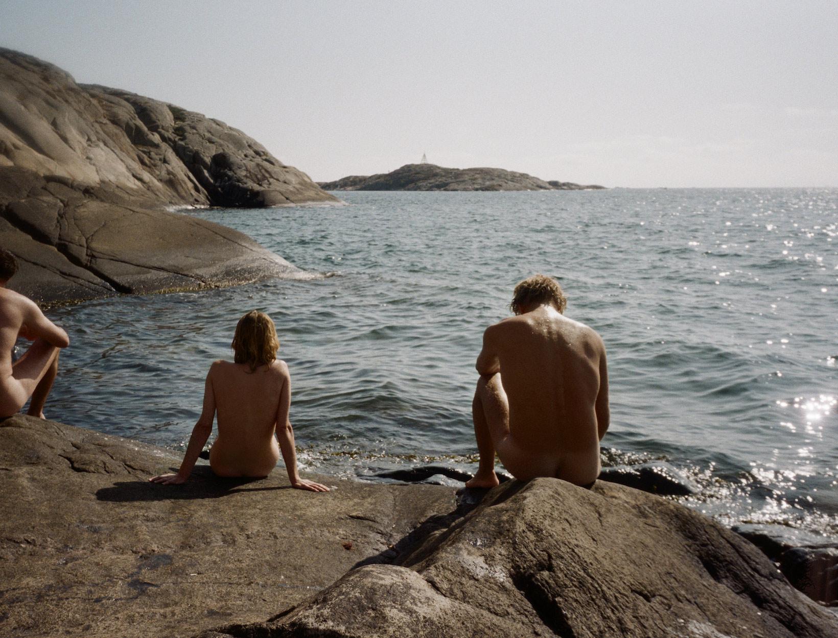 naked on rocks