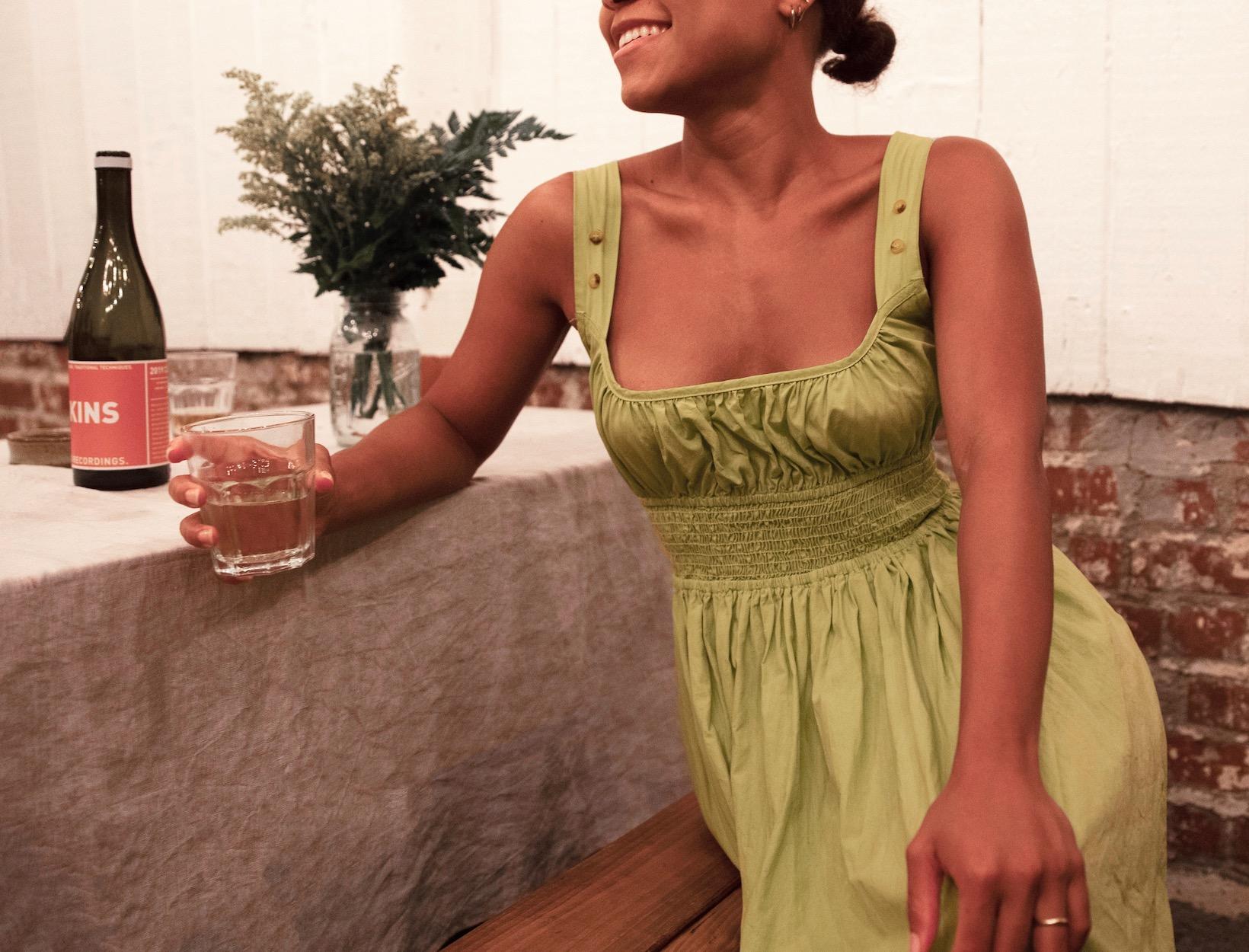 woman enjoying a drink