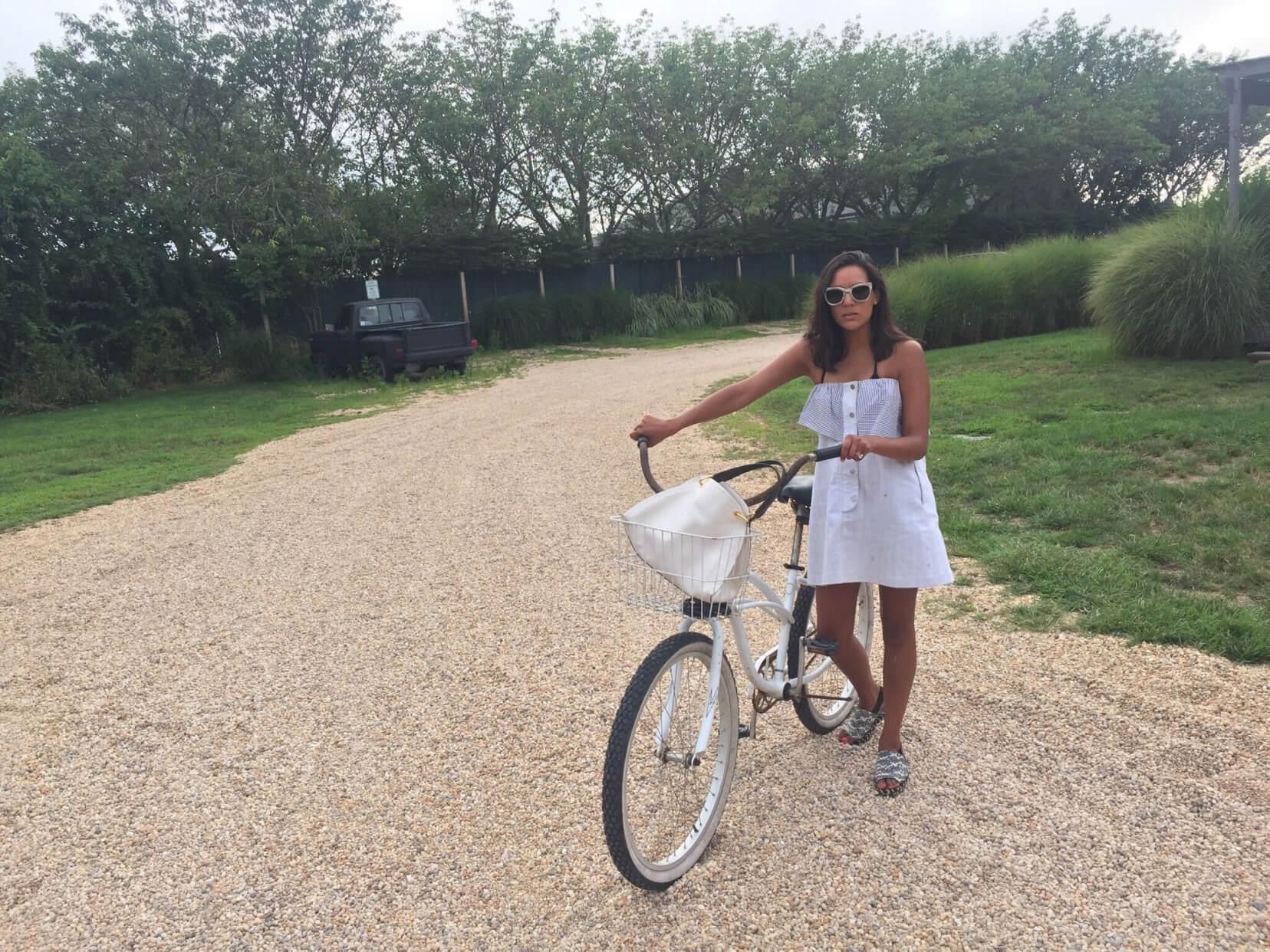 Noora Raj Brown on a bike