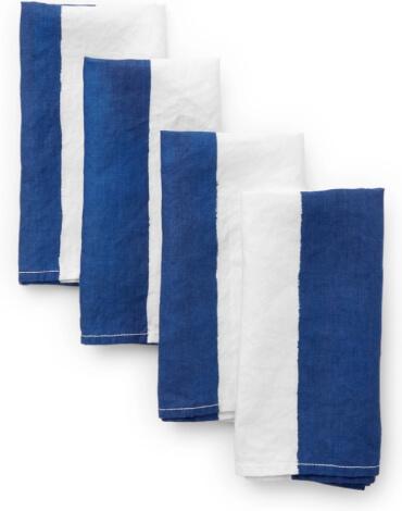 Summerill + Bishop Blue-and-White-Striped Napkin