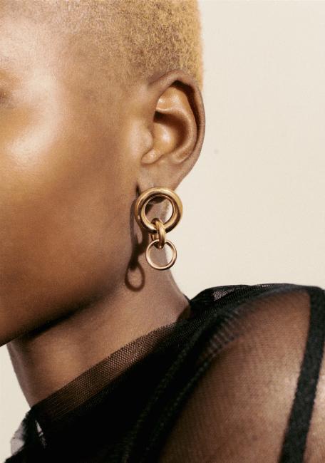 woman wearing laura Lombardi earrings