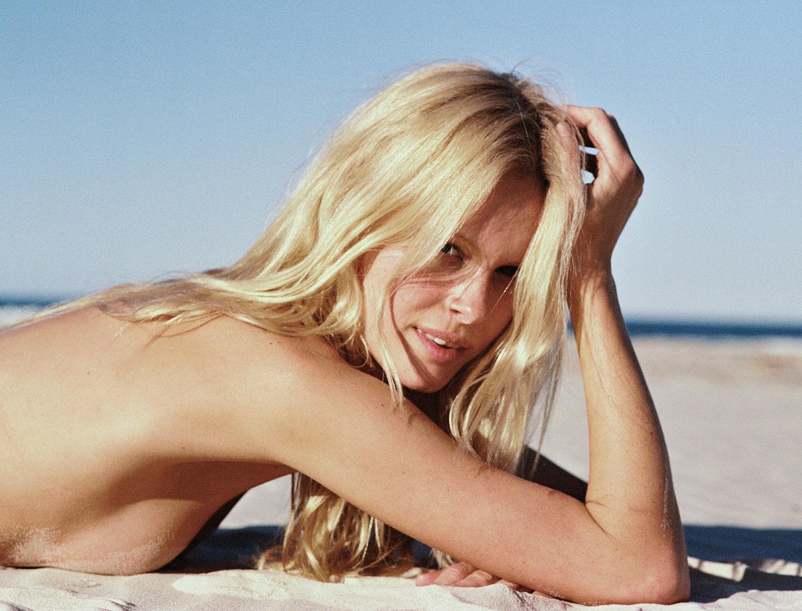 girl with long hair on beach