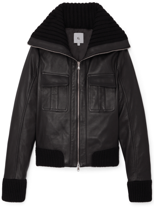 G. Label brille leather bomber jacket