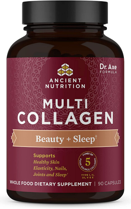 Ancient Nutrition Multi Collagen Capsules – Beauty + Sleep 90 Count