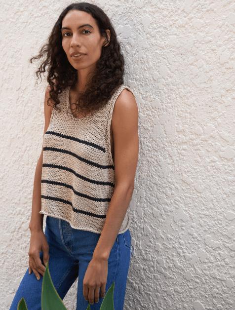 woman in striped sweater tank