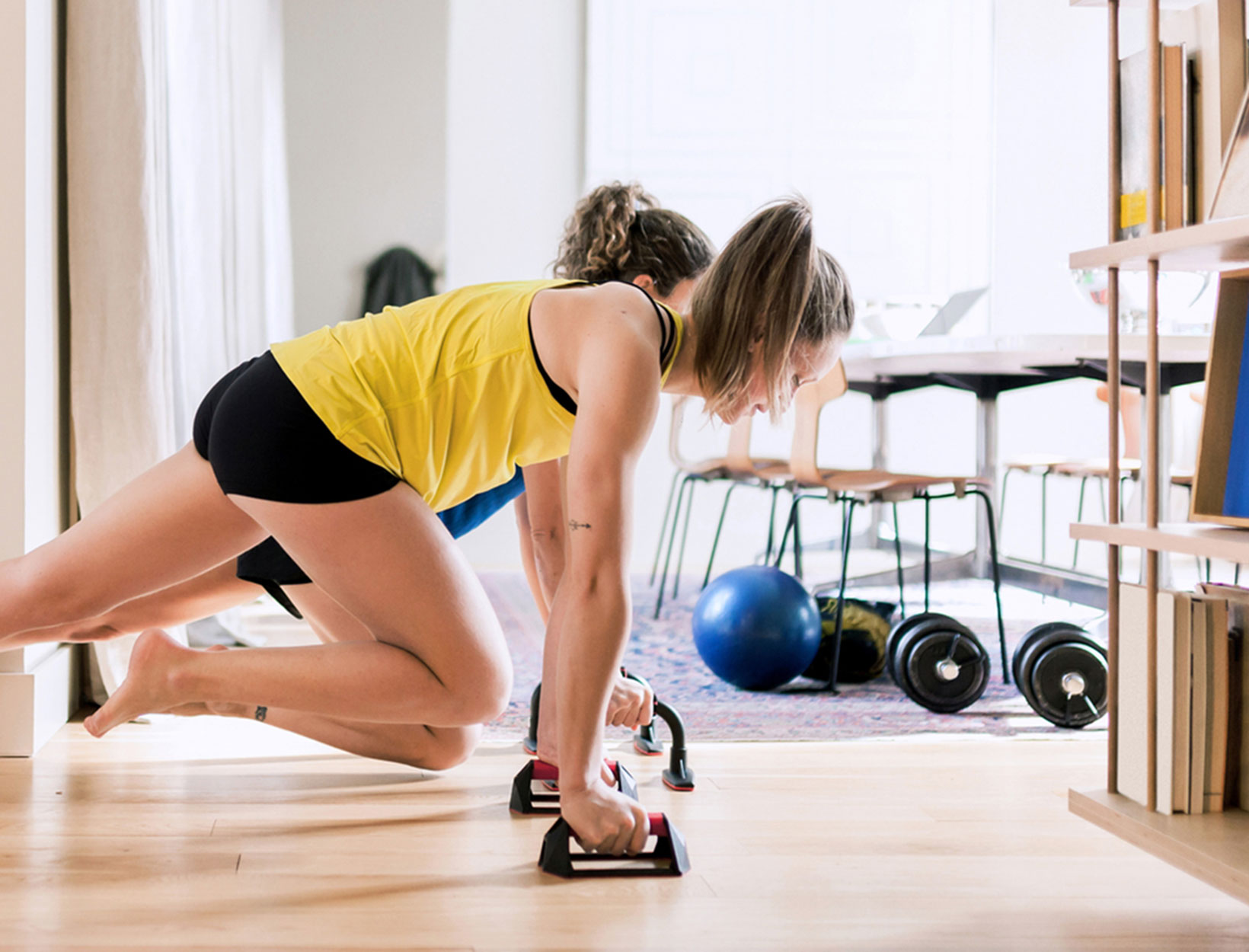 women working out at home