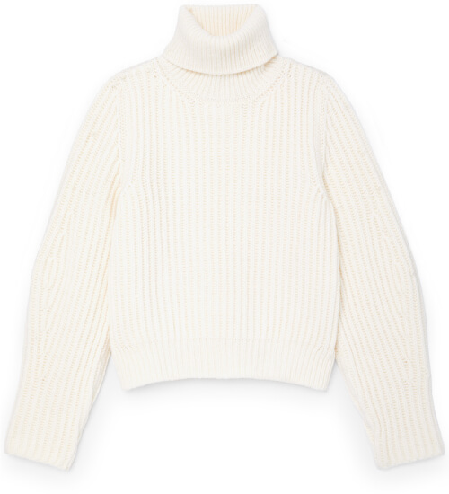 G. Label MADI CHUNKY-KNIT PUFF-SLEEVE TURTLENECK