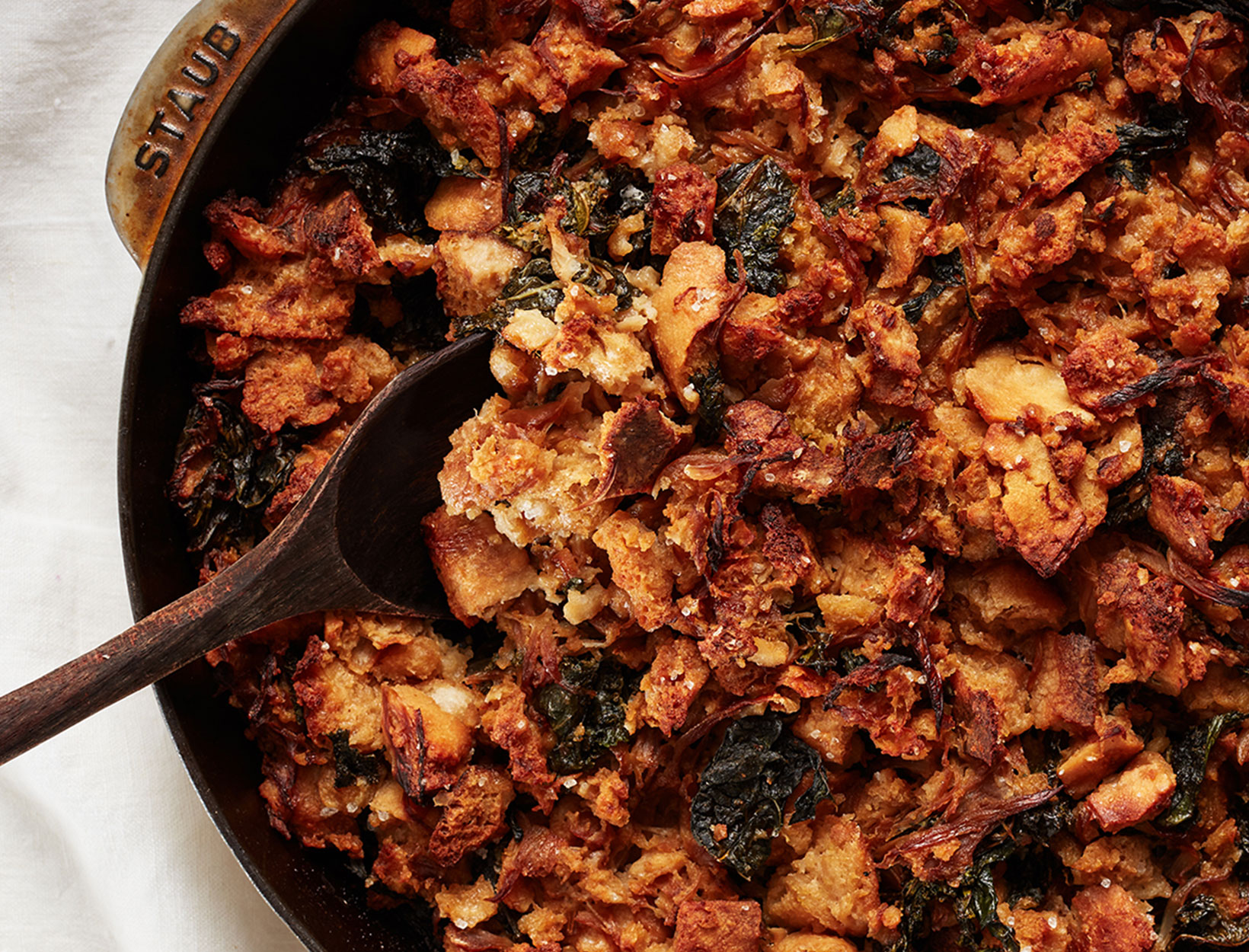 Stuffing with Caramelized Onions, Fennel, and Kale