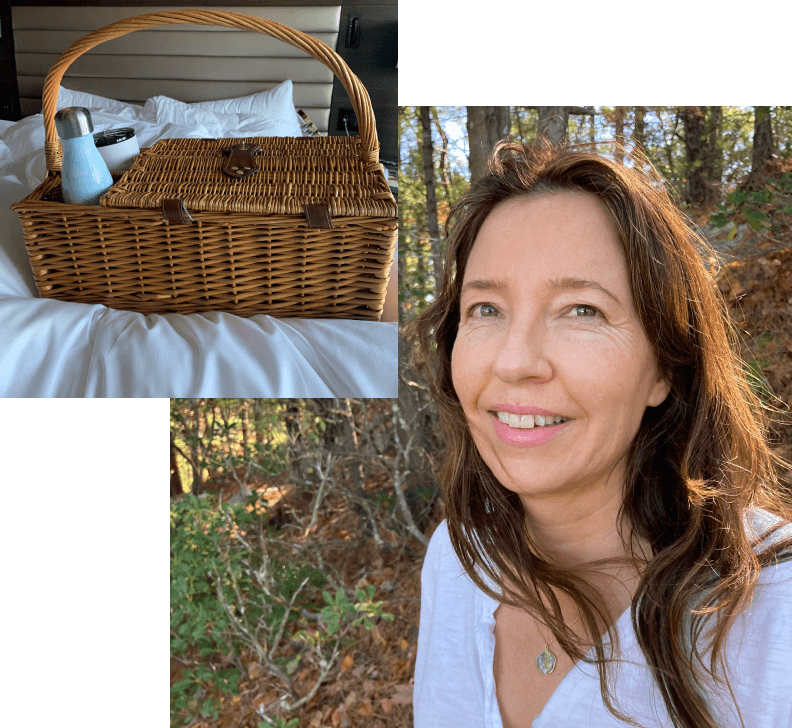 picnic basket and Jean in nature