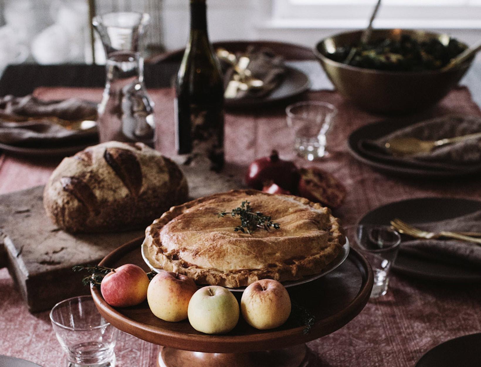 pie on dinner table