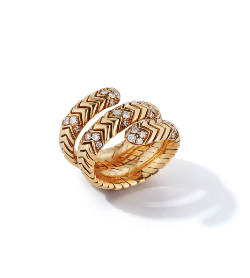 Jill Heller Vintage Jewelry Bulgari Spiga Ring with Diamonds