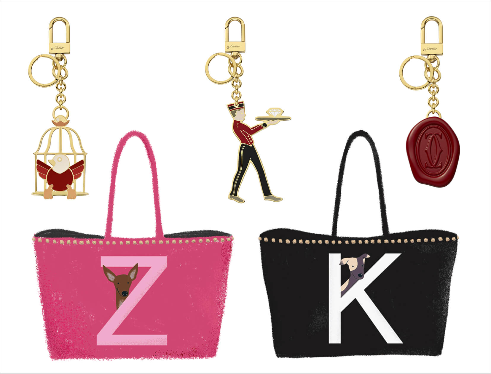 keychain and tote bags