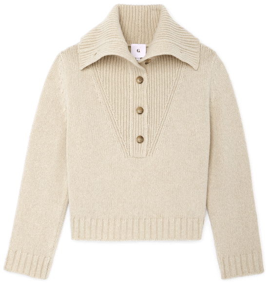 CORIE BUTTON-COLLAR SWEATER