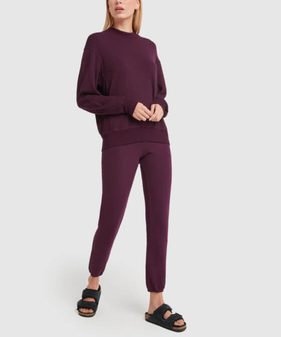 Monrow SUPERSOFT MOCK-NECK SEAMED SWEATSHIRT and SUPERSOFT VINTAGE SWEATS