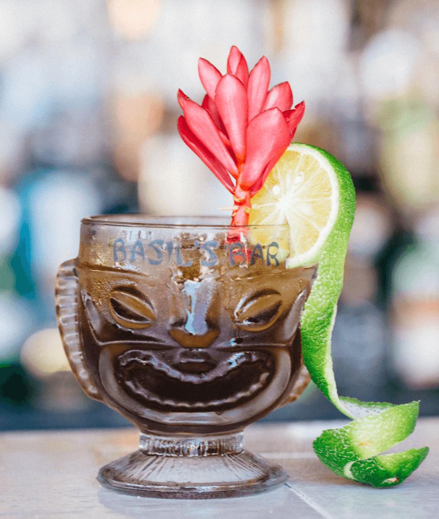beverage at a tiki bar