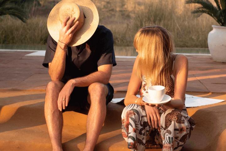 couple sitting in sun