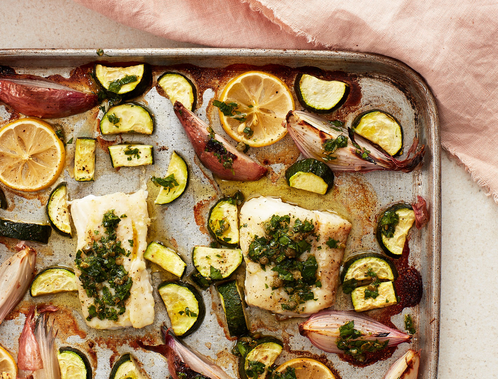 Sheet Pan Haddock with Zucchini, Shallot, and Salsa Verde