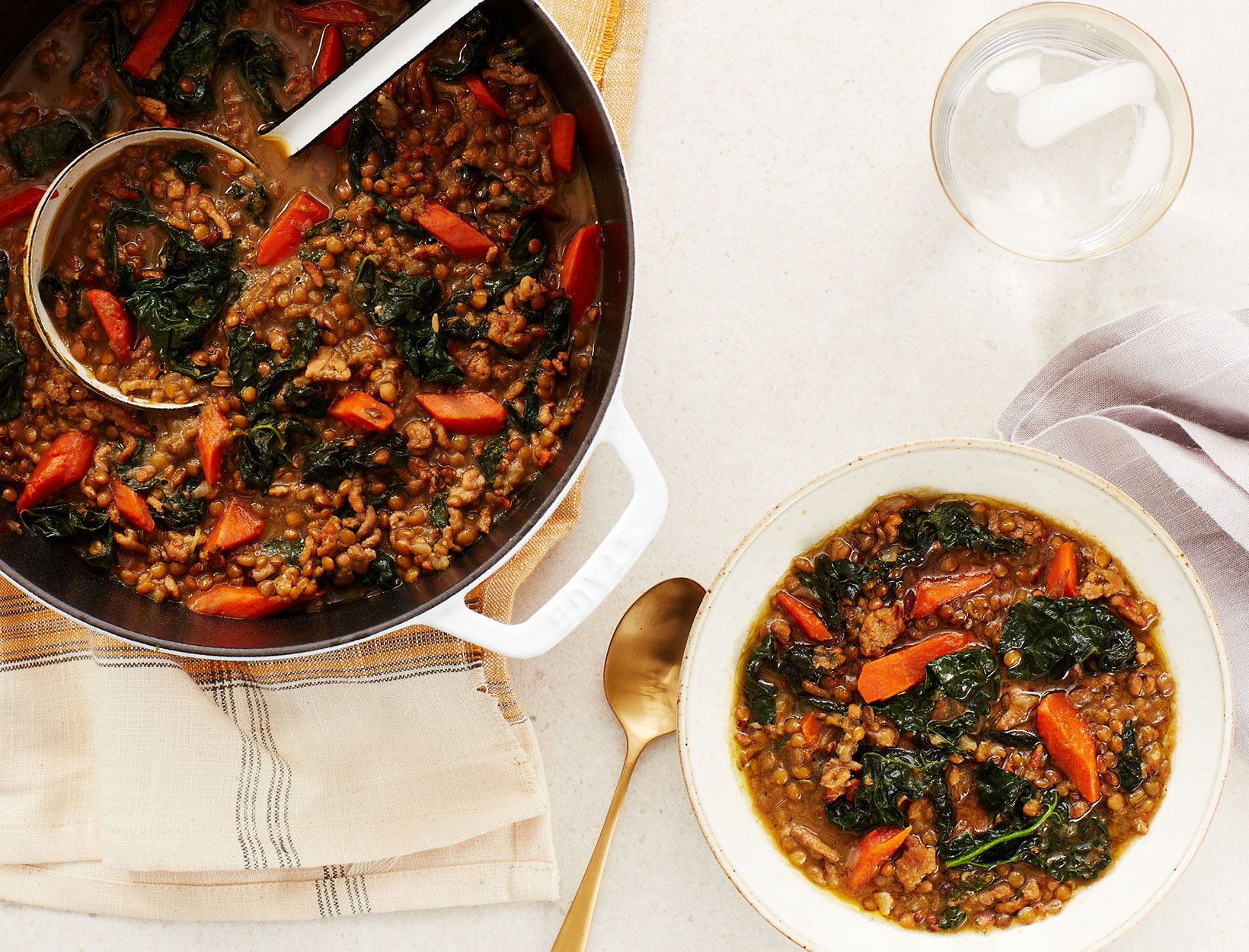 Lentil and Chicken Sausage Stew with Kale