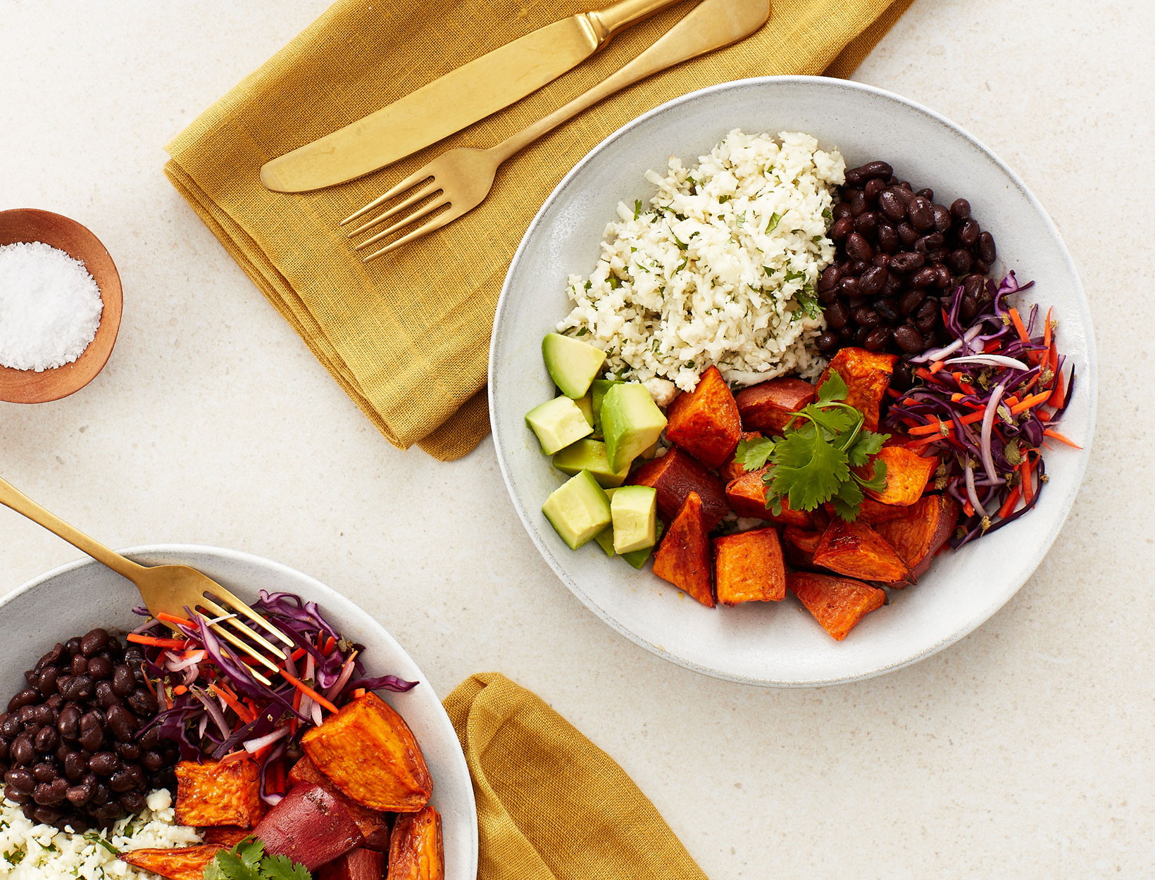 Sweet Potato Bowls with Cilantro-Lime Cauli Rice and Quick-Pickled Slaw