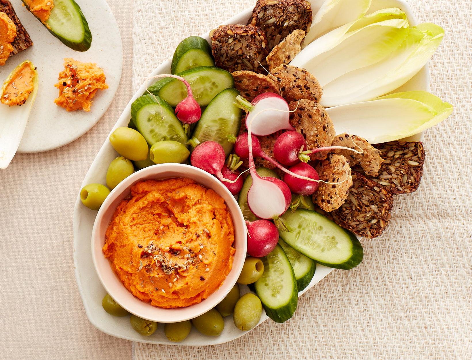 Sweet Potato Hummus Plate