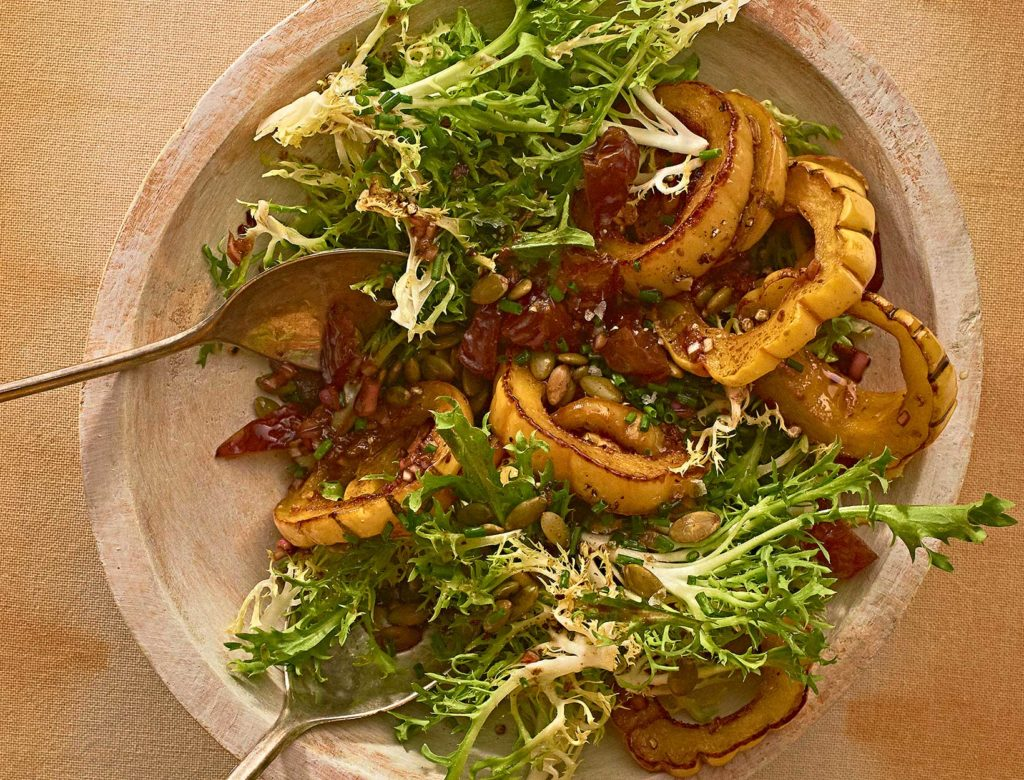 Delicata Squash and Frisée Salad with Dates and Pepitas