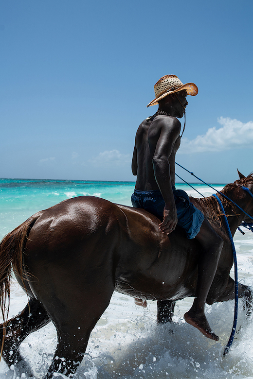 man on horse in water