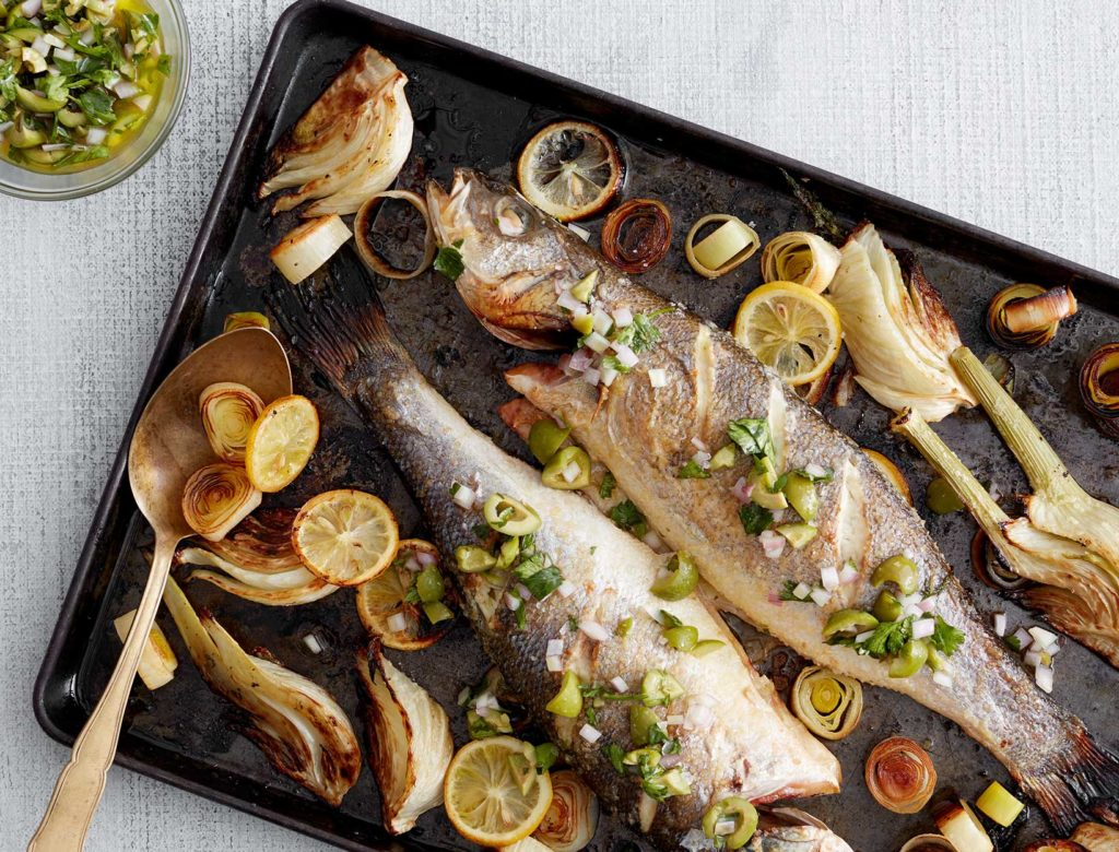 Whole Roasted Branzino with Castelvetrano Olive Relish