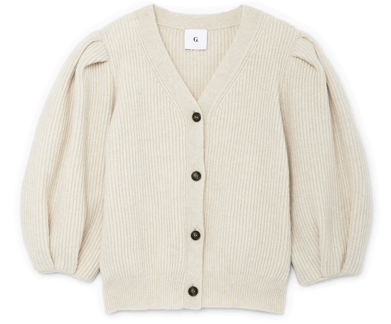 Foster Ribbed Puff-Sleeve Cardigan