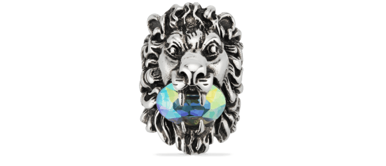 lion head ring with crystal