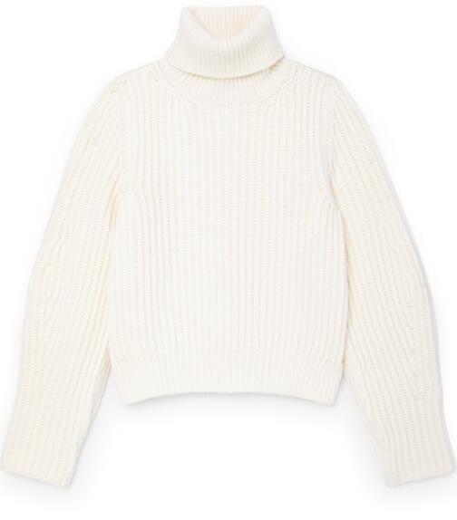 G. Label Madi Chunky-Knit Puff-Sleeve Turtleneck