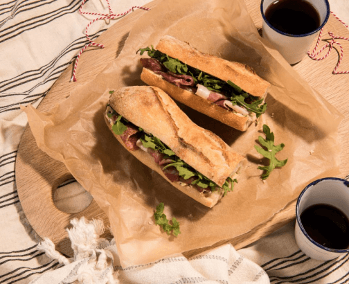 Prosciutto Baguette with Chive butter