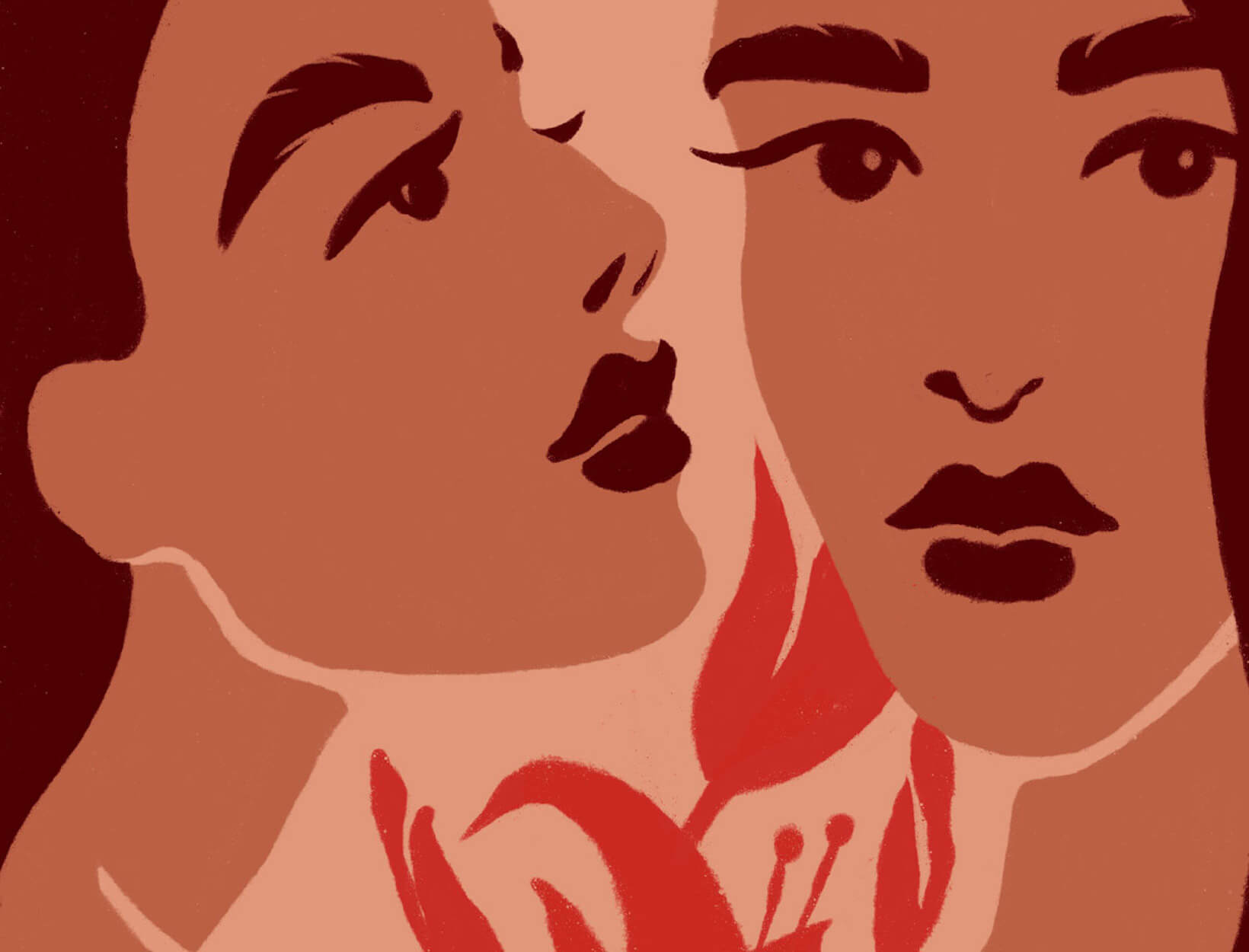 woman whispering illustration