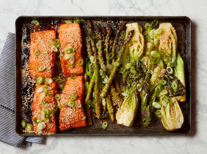 Miso Salmon with Boy Choy and Asparagus