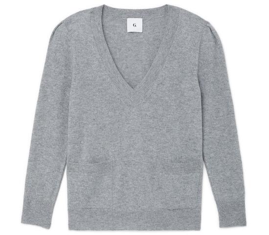 Dia V-Neck Puff Sleeve Sweater
