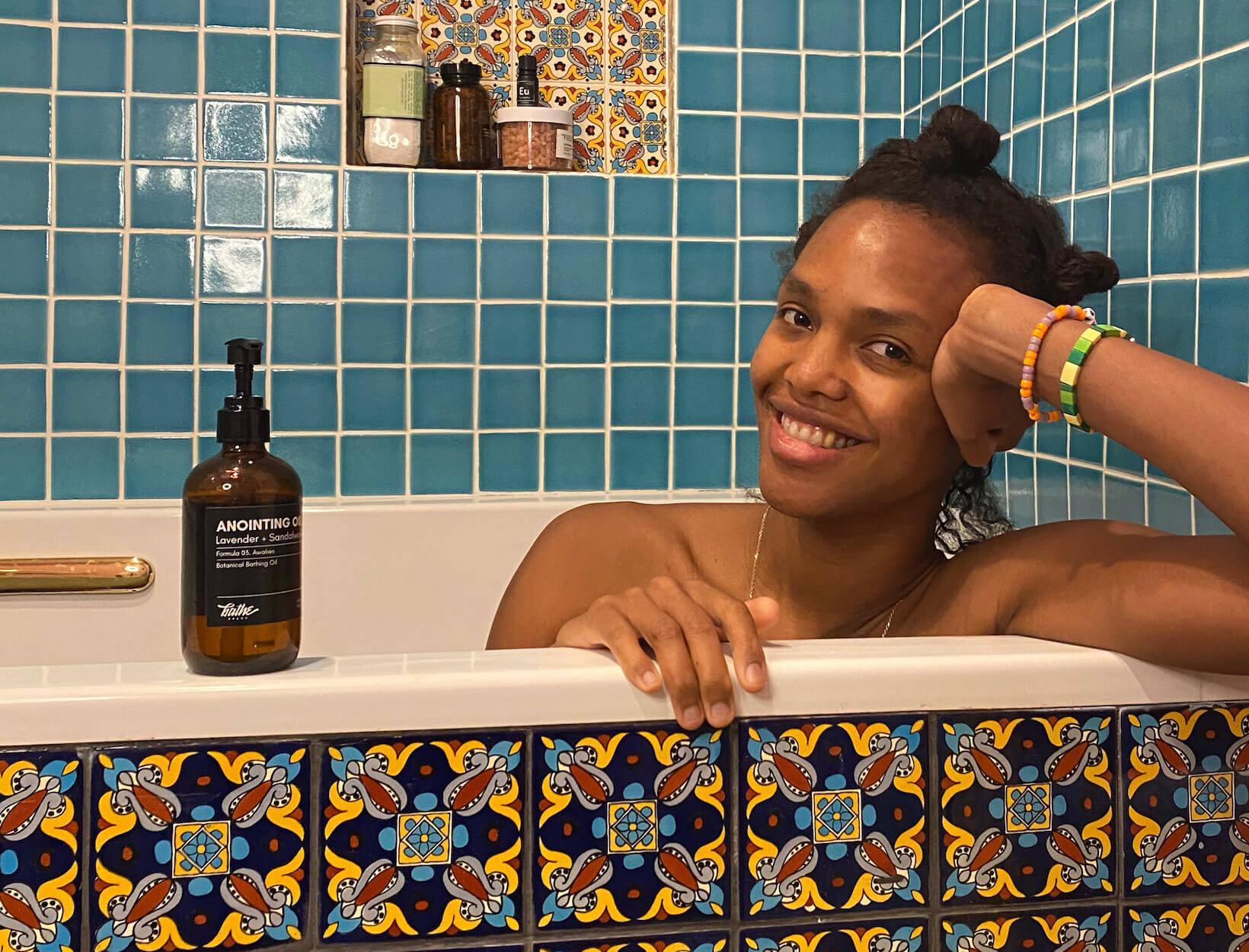 Megan O'Neill in bath tub