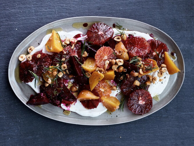brandtktk Blood Orange and Roasted Beets with Yogurt, Tarragon, and Hazelnuts