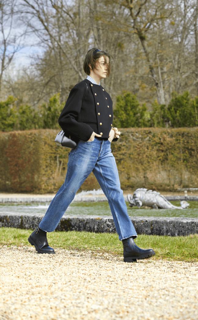 model wearing celine jacket and jeans
