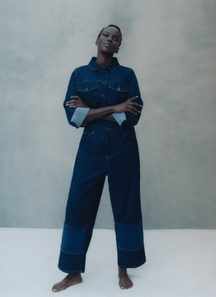 woman wearing ERDEM x UNIVERSAL STANDARD jumpsuit