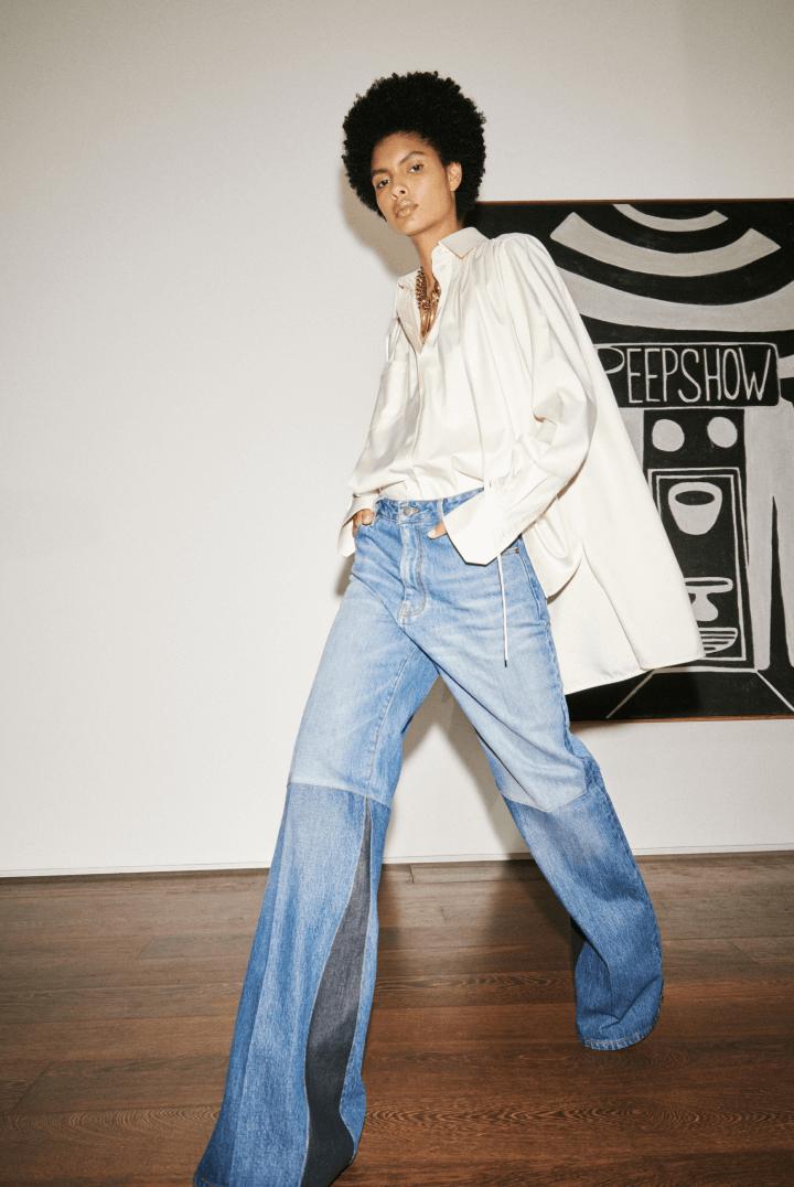 models wearing Victoria Beckham blouse