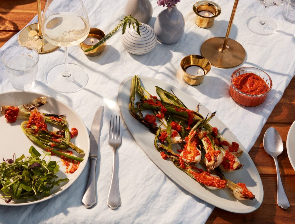 Grilled Spring Onions with Romesco