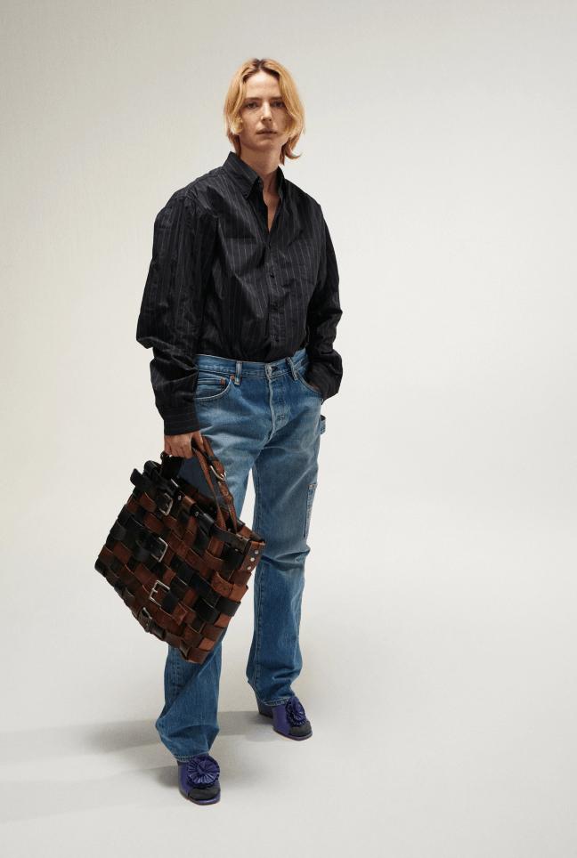 Model wearing Maryam Nassir Zadeh jeans