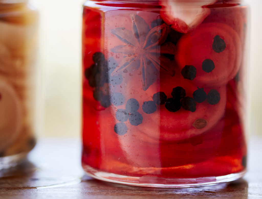 Red Wine Vinegar Pickles with Star Anise and Bay Leaves