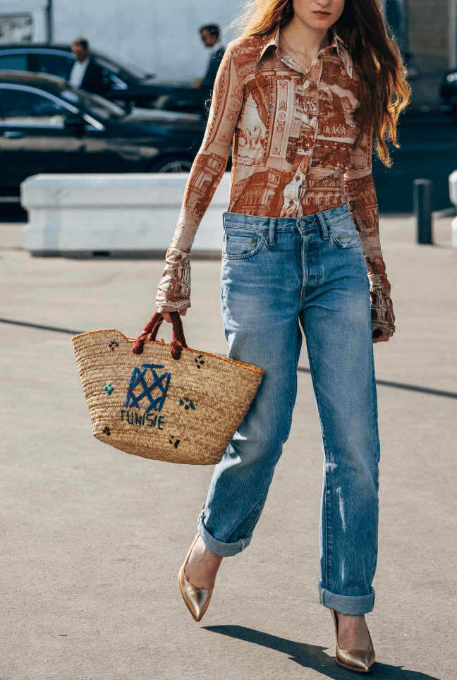 woman wearing g.label maverick straight leg jeans
